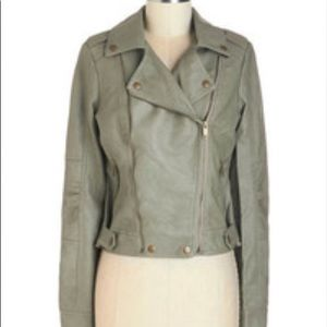 Blanc Noir olive leather jacket.